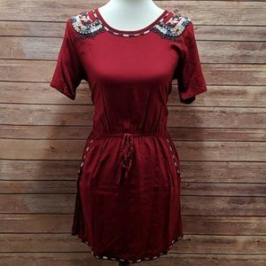 Earthbound Embroidered Red Blue Boho Mini Dress M